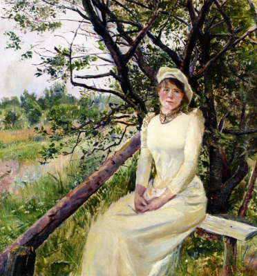 Кристиан Крог. Молодая женщина на скамейке