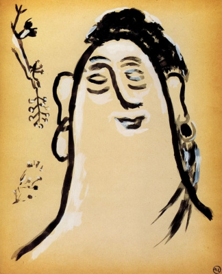 "Mikhail Larionov. Female head and bird with a branch in its beak. From the album ""Journey to Turkey"""
