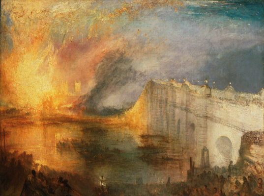 Joseph Mallord William Turner. The fire in the upper and lower houses of Parliament on 16 October 1834