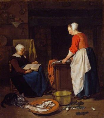 Gabrielle Metsu. Sleeping old woman