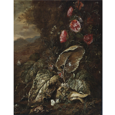 Otto Marceus van Scriec. Still life with flowers and plants in a landscape with toads and moths