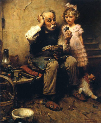 Norman Rockwell. Shoemaker thinks how to fix a Shoe doll