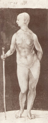 Albrecht Durer. Standing naked with a stick, turned to the right