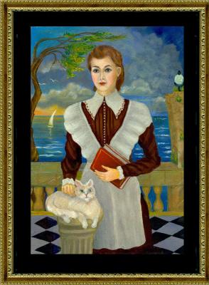 "Vladimir Pavlovich Parkin. Elena Naydenova, schoolgirl, bride of Lieutenant Kudasheva. Illustration for the novel ""Conquest in Russian."""