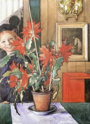 Carl Larsson. Britta cactus