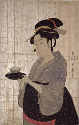 """Китагава Утамаро. Нанива-я Окита. Из серии """"Выдающиеся красавицы и бессмертная поэзия"""""""