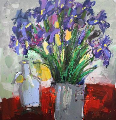 Ilya Pavlovich Spichenkov. Irises and carafe