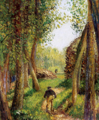 Camille Pissarro. Forest scene with two figures