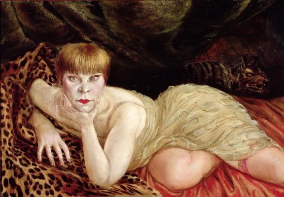Женщина, лежащая на леопардовой шкуре