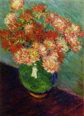 Claude Monet. Vase of chrysanthemums