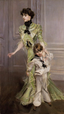 Giovanni Boldini. Portrait of Madame Georges Hugo and Her Son Jean