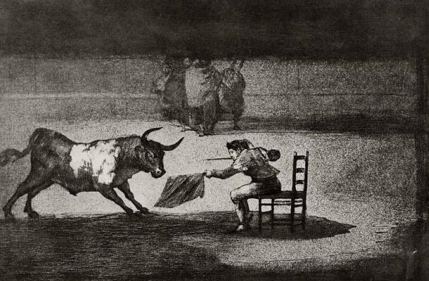 Франсиско Гойя. Серия Тавромахия, лист Н: Безрассудная смелость Мартинчо