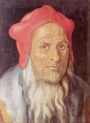Albrecht Durer. Portrait of a bearded man in a red cap