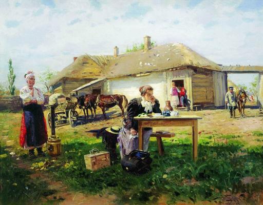 Vladimir Egorovich Makovsky. The arrival of the teacher in the village