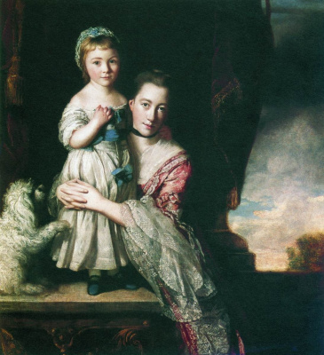 Joshua Reynolds. Portrait of the Countess Spencer with her daughter Georgiana