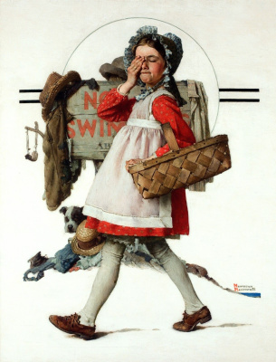 """Norman Rockwell. From the series """"First love"""""""