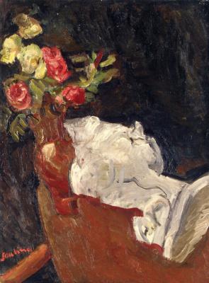 Haim Solomonovich Soutine. A bouquet of flowers with a plaster statue