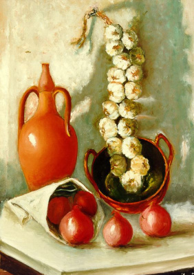 Мари Ромеро Кампо. Натюрморт с луком, чесноком и посудой