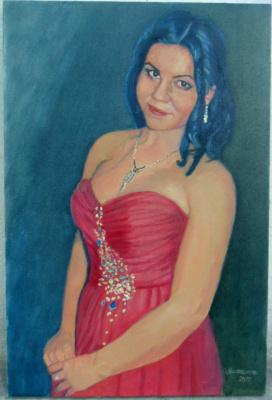 Olga Vladimirovna Mikhaylenko. Portrait of a girl in a red dress