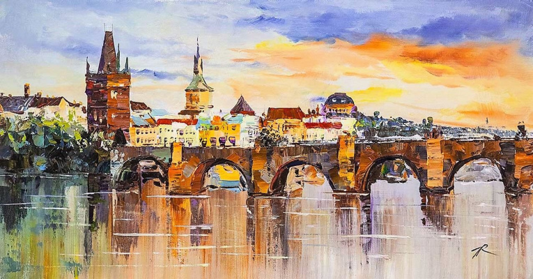Jose Rodriguez. View of Charles Bridge at sunset