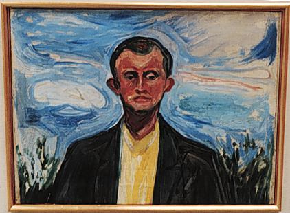Edward Munch. Self portrait on the background of blue sky