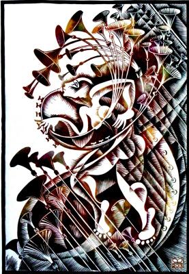 "Vladimir Kataev. ""Silence – 1"", linocut, 65 X 45 cm, 2013"
