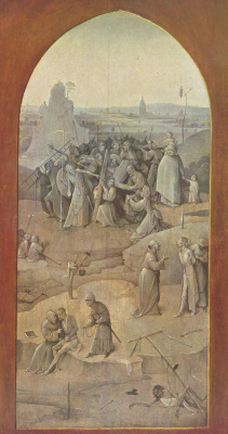 "Hieronymus Bosch. The carrying of the cross. Triptych ""The Temptation Of St. Anthony"". Right outer fold"