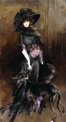 Giovanni Boldini. Portrait of the Marquise of Louise Kazati with the Greyhound