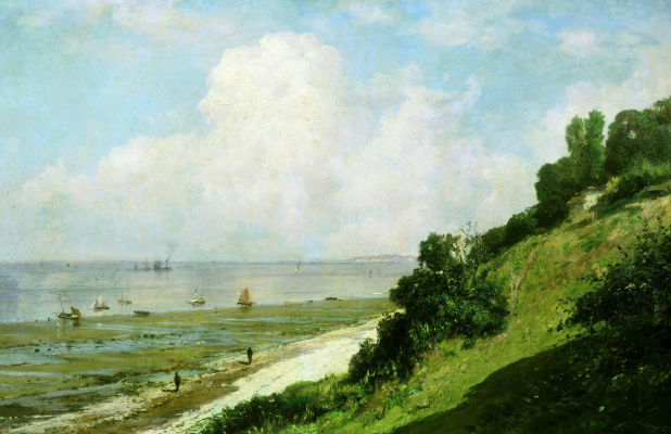 Alexey Petrovich Bogolyubov. Beach in Honfleur. Hot day. Low tide at the mouth of the river Seine