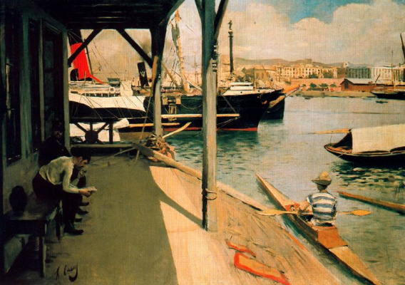 Ramon Casas i Carbó. Boat pier before the regatta