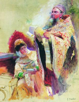 "Konstantin Makovsky. The priest and the boyar sketch for the painting ""Minin square in Nizhny Novgorod, urging people to donate"""