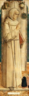 Carlo Crivelli. Saint James of Marksky with two kneeling detonators