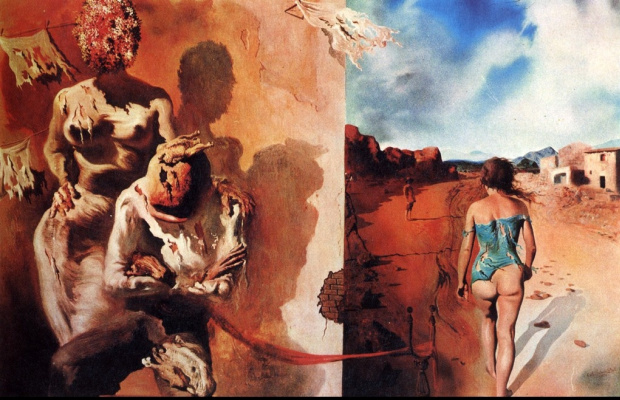 Salvador Dali. Sleep, laying his hand on men's back