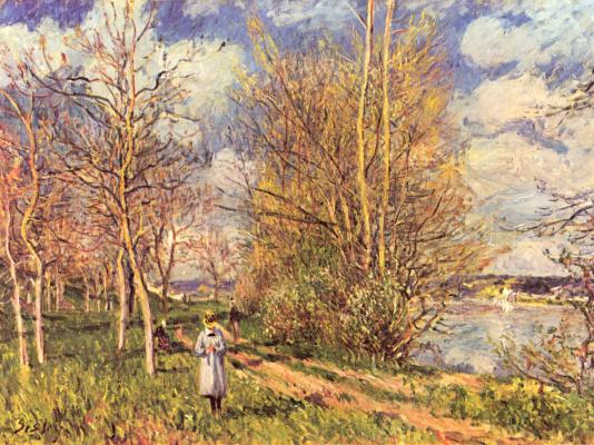 Alfred Sisley. Spring lawn in Bi