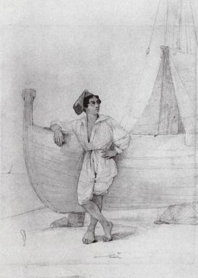 Italian at sailing boats. Sketch