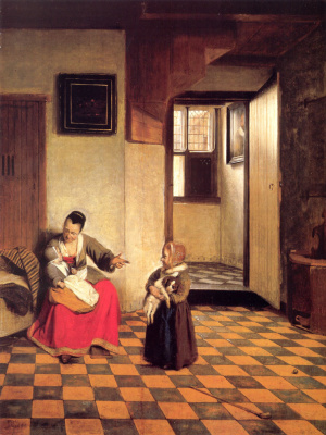 Pieter de Hooch. A woman with a child on his lap and a girl with a dog