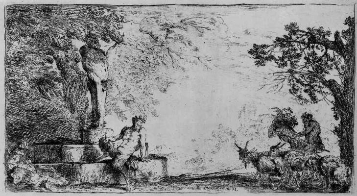 Сатир, сидящий у подножия гермы