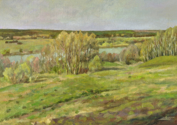 Andrei Ivanovich Borisov. May greens. Evening.