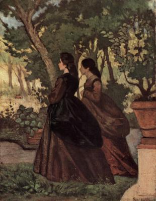 Giovanni Fattori. Two ladies in the garden of Castiglioncello
