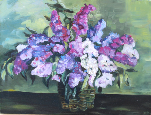 "Vasilisa Viktorovna Perestoronina. Painting based on Konchalovsky ""Lilac in the basket"""