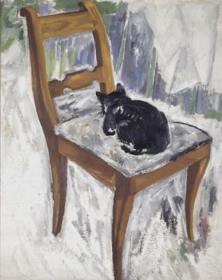 Михаил Федорович Ларионов. Кошка на стуле