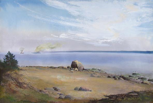 Alexander Victorovich Shevelyov. Shore in Koprino. Watercolor paper 45 x 65 cm. 1989