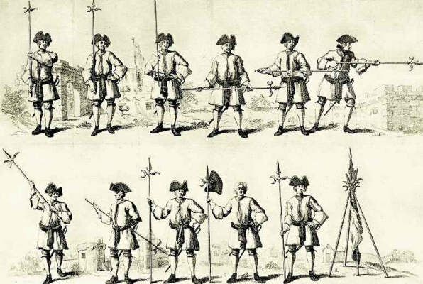 William Hogarth. Exercises with a halberd