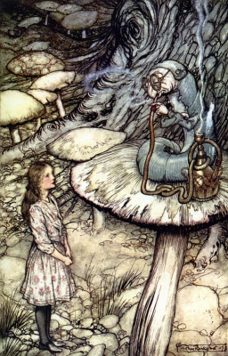 "Arthur Rackham. A meeting with caterpillar. Illustration for the tale ""Alice in Wonderland"""