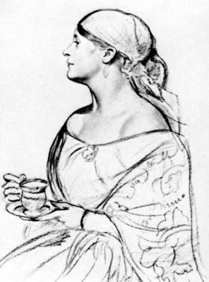 Boris Mikhailovich Kustodiev. Woman with a Cup Portrait of L. I. Shatalovoj