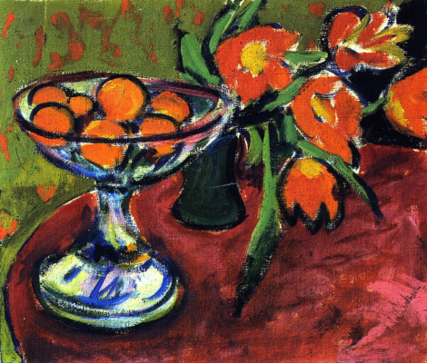 Ernst Ludwig Kirchner. Still life with oranges and tulips