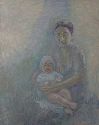 Oksana Viktorovna Zalevskaya. Mother and son from the village of Gava.