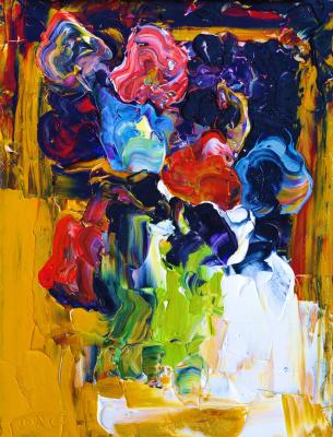 Alexander Ocher Kandinsky-DAE. Bouquet of flowers on a yellow background