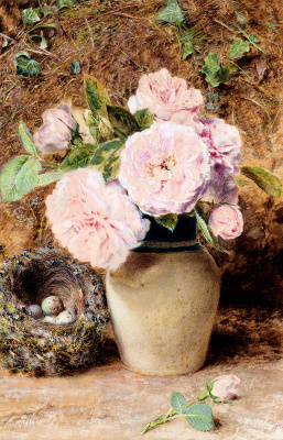 William Henry Hunt. Still life with roses in a vase and a birds nest