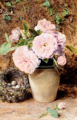 Уильям Генри Хант. Натюрморт с розами в вазе и гнездом птиц